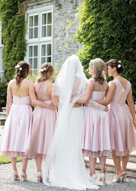 Shorter bridesmaids dresses are a great option for the warmer months at Morden Hall in London