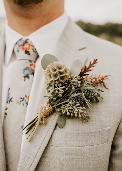 This groom chose a floral tie for his summer wedding in London