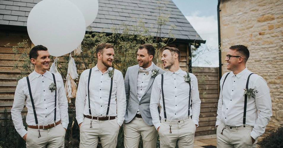 These groomsmen are dressed perfectly for a summer wedding at in the city
