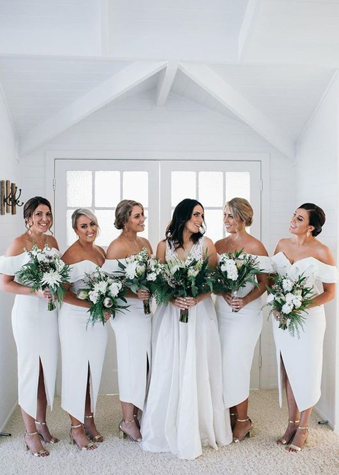 These white bridesmaid dresses are perfect for a summer wedding at Morden Hall in London