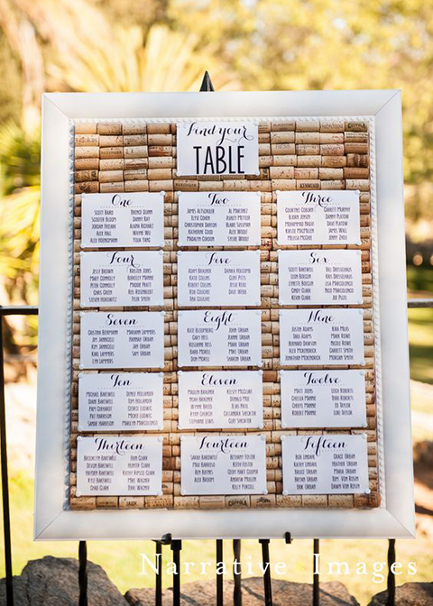 This alternative wedding table plan is made from lots of corks