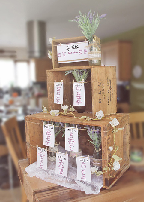The couple chose a wedding table plan made from wooden crates for their London wedding