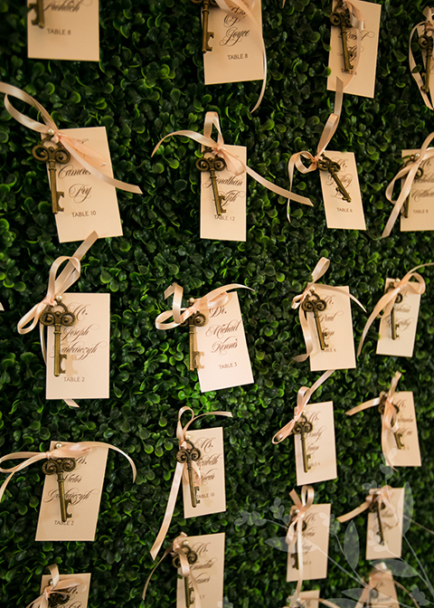 This wedding table plan is made using ornate keys and paper tags