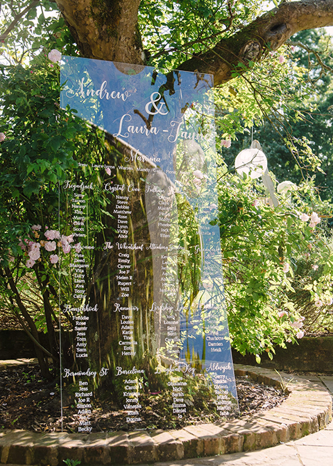 The wedding table plan was made from clear Perspex at this wedding at Morden Hall
