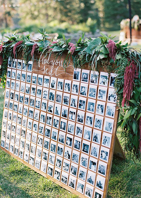 The table plan was made up of photographs of the couple and their guests