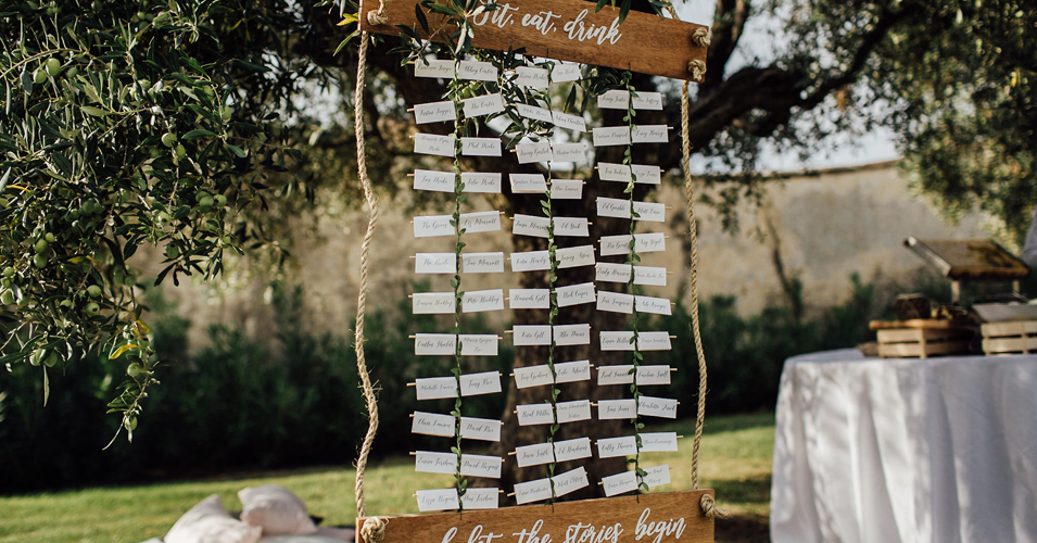 This couple chose an alternative table plan made from rope and wood for their London wedding