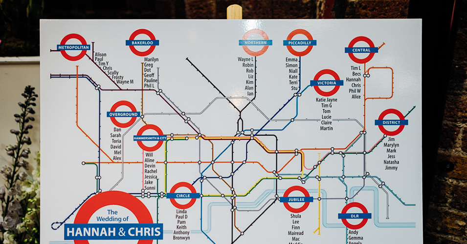 This fun wedding table plan is a replica of the London underground