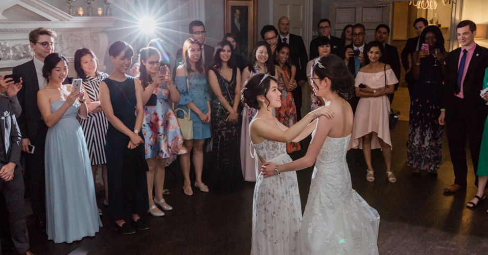 After a beautiful wedding breakfast the brides took to the floor to enjoy their first dance