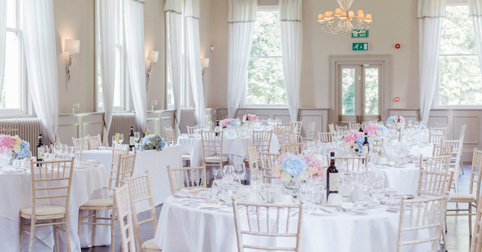 Mulberry Room was decorated with pastel wedding flowers