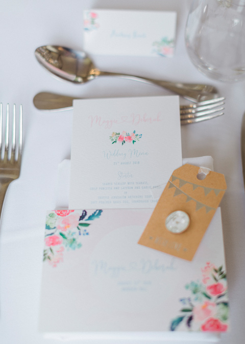 Place names and wedding menus were placed on the tables