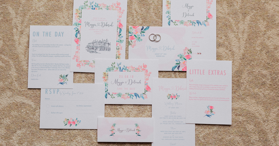 The couple had modern wedding stationery with a gorgeous floral theme