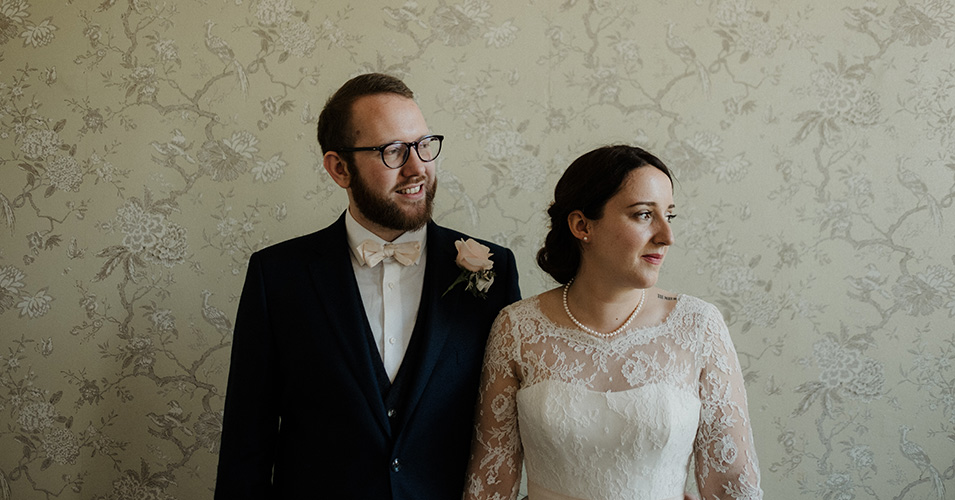 The bride and groom at Morden Hall, a London wedding venue