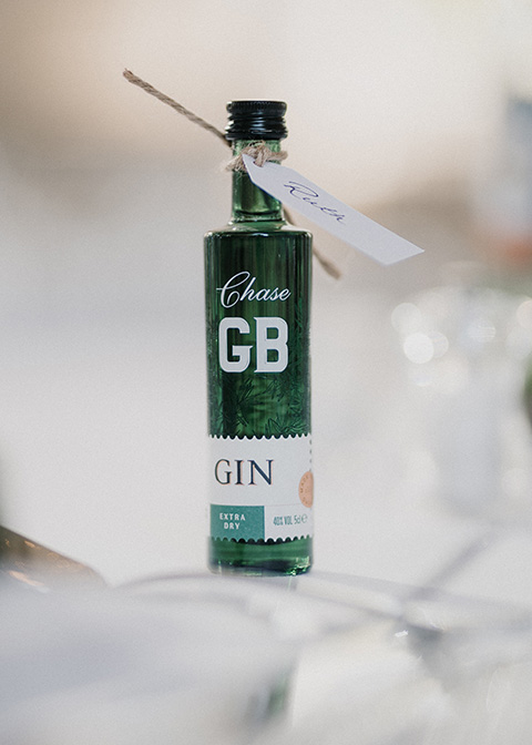 Guests were given miniature gin wedding favours from Chase Distillery
